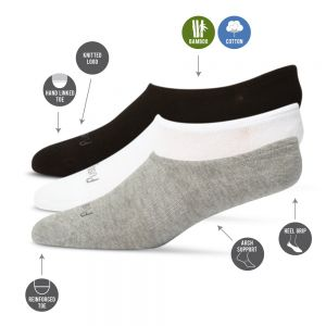 BAMBOO 3PK INVISIBLE / NO SHOW SOCKS