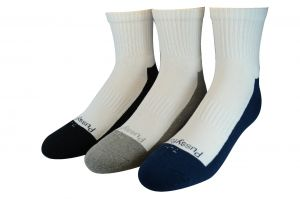 KIDS 3PK QTR CREW SOCKS – NVY/GRY/BLK **OVER 50% OFF SALE**