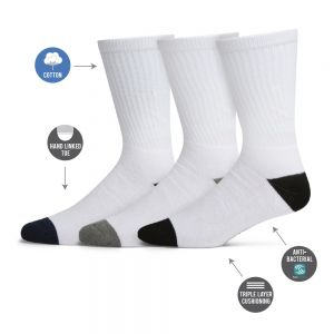 MENS 3PK COTTON CREW SPORT SOCKS