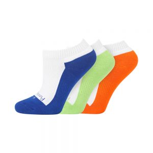 KIDS 3PK ANKLE SOCK - ORA/LIM/RYL