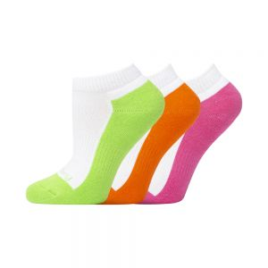 KIDS 3PK ANKLE SOCK - LIM/ORA/PNK
