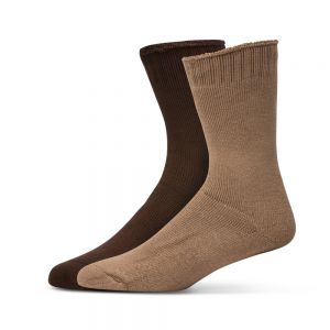 2PK BAMBOO WORK SOCKS - BROWN/TAUPE
