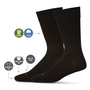 Black Bamboo Dress Socks in a Twin Pack by Pussyfoot Socks