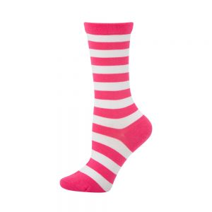 WOMENS NON TIGHT STRIPE HEALTH SOCK - PINK