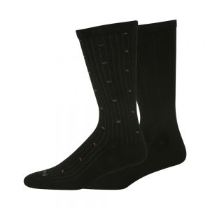 MENS NON TIGHT BAMBOO AND COTTON 2PK SOCKS - BLK/RED