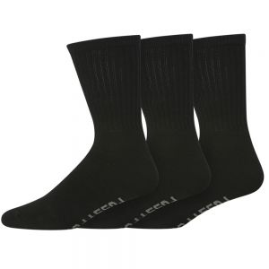 MENS 3PK COTTON CREW SPORT SOCKS - BLACK