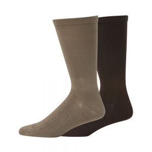 MENS NON TIGHT BAMBOO AND COTTON 2PK SOCKS - BRN/TPE
