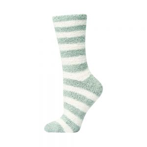WOMENS FEATHERED BAMBOO BED SOCK - PINK STRIPE