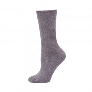 WOMENS FEATHERED BAMBOO BED SOCK -  GREY