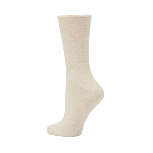 WOMENS FEATHERED BAMBOO BED SOCK - NATURAL